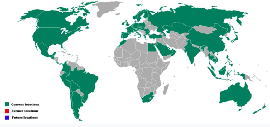 Свободные страны для Starbucks