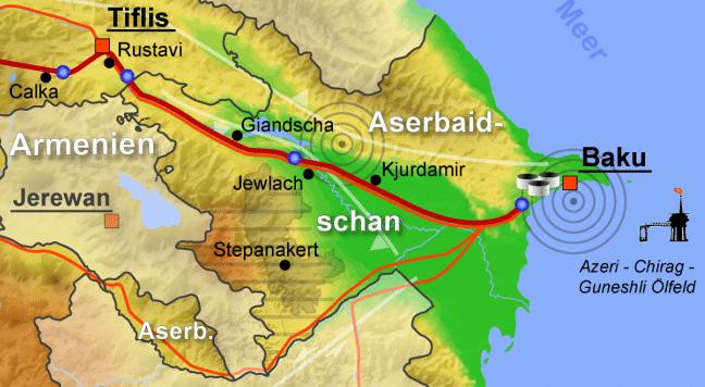 Трасса нефтепровода Баку-Тбилиси-Джейхан
