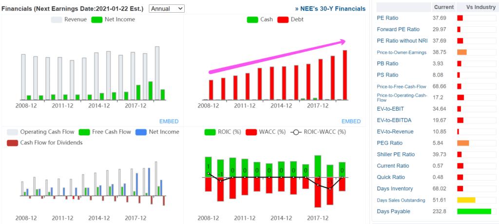 Основные фин. показатели NEE 2008-20